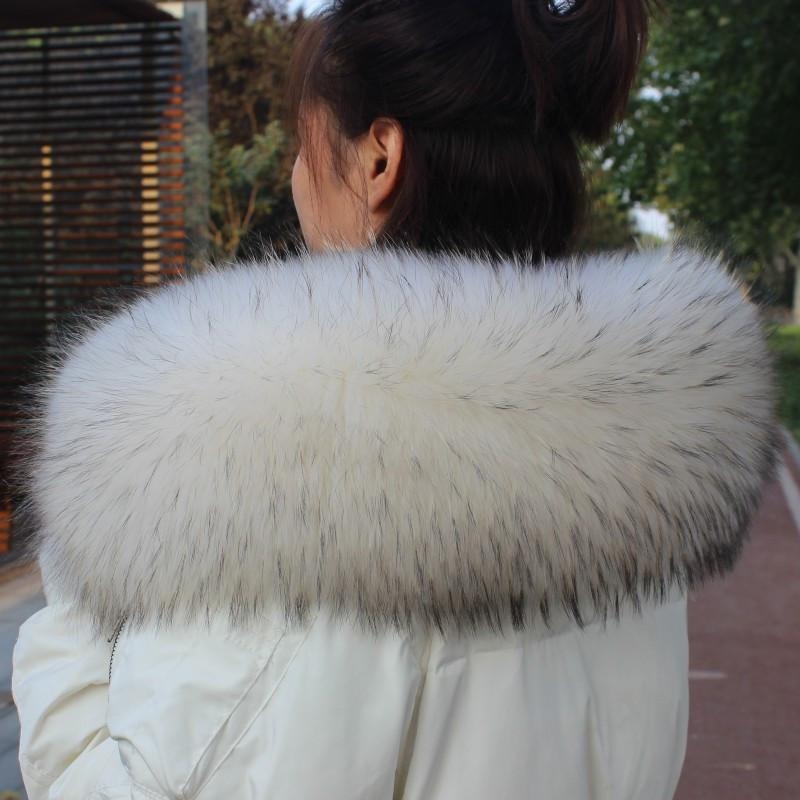 Natural Real Raccoon Fur Collar Winter Warm Women Down Coat Hood Fur Raccoon straight collar Scarf Shawl Big Scarves Wrap Female