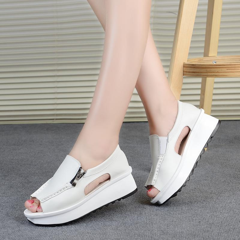 2020 summer new casual female sandals wedge with open toe round head zipper fish mouth muffin platform sandals