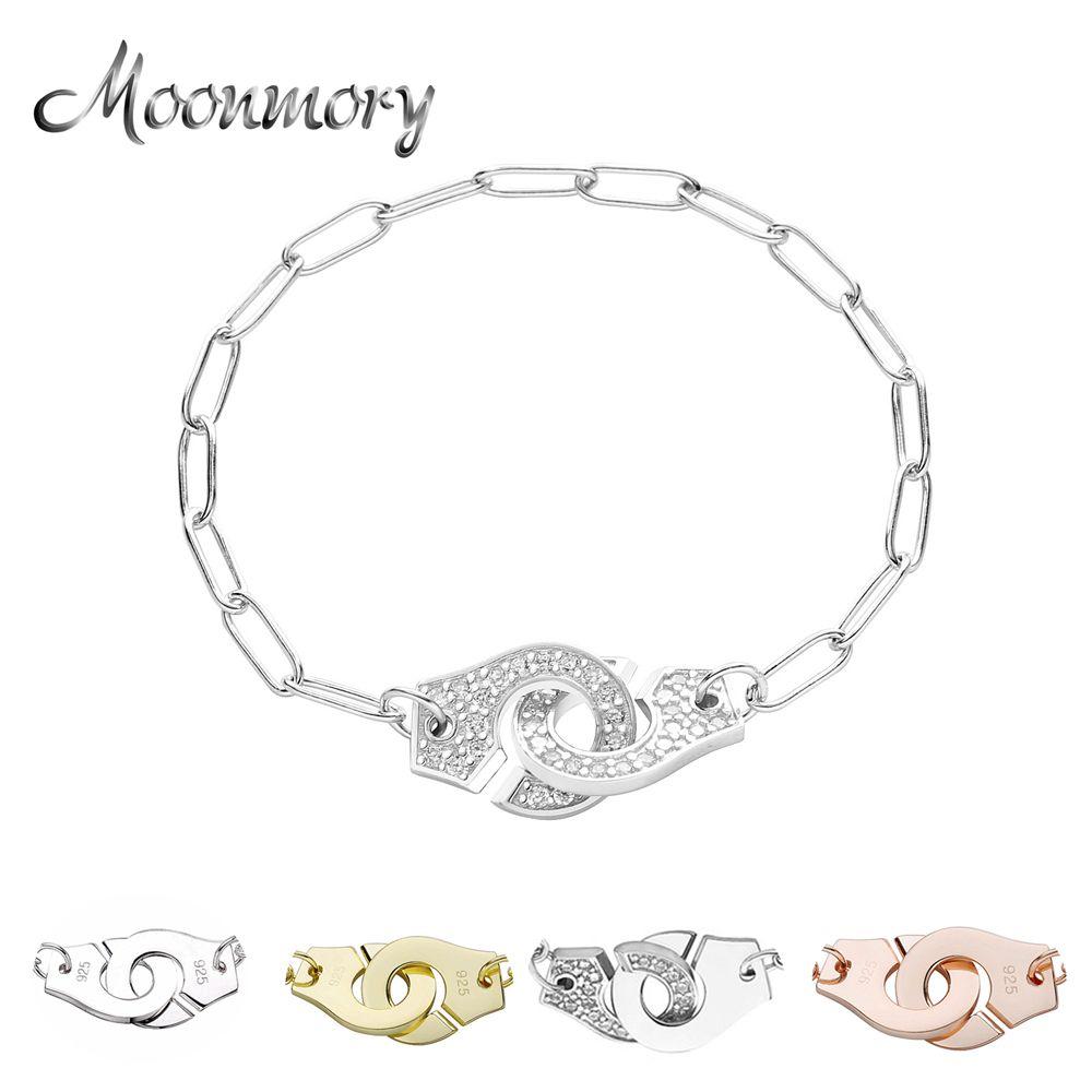 Moonmory 100% Autêntico 925 Sterling Silver Chain Algema Handcuff Pulseira Menottes Mão manguito Pulseira Para As Mulheres Jóias J1202