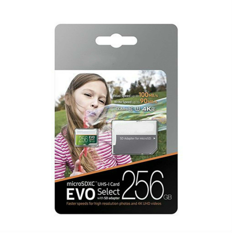 DHL Shipping 16G / 32GB / 64GB / 128GB / 256GB Samsung Evo Выбрать Micro SD Card / Smartphone SDXC Карточка для хранения / TF Card / HD Камера памяти 100 МБ / с