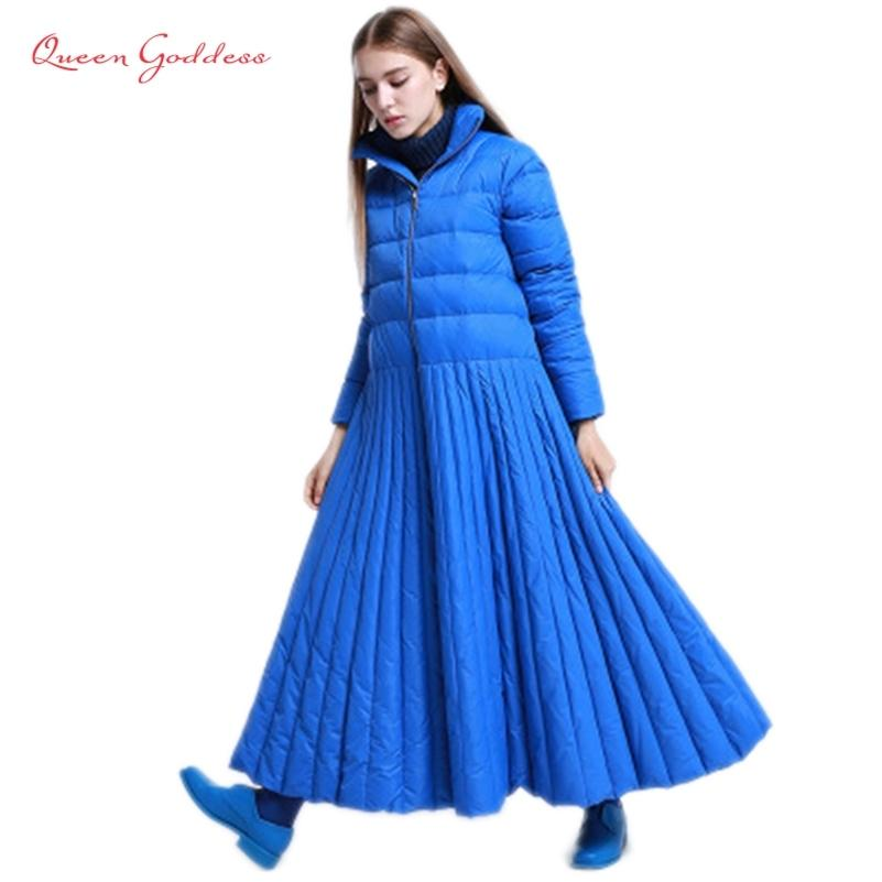 autumn and winter Skirt style long down women jacket special Design coat Blue plus size parkas female and causal warm wear 201211