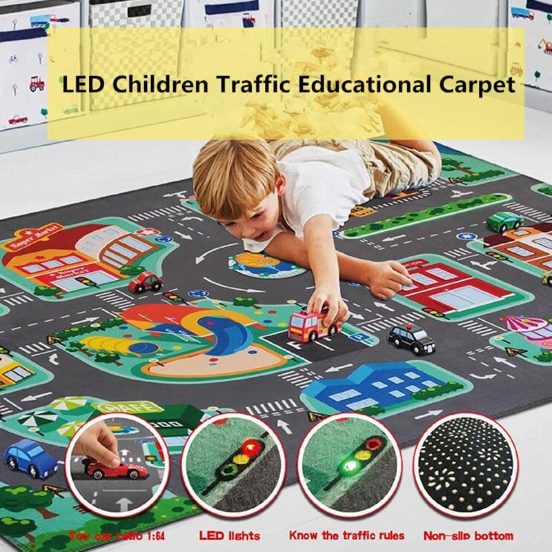 Bambini Educational Tappeto Traffico Urban Road Led Baby Play Mat Stuoia per bambini Tappeto per bambini Tappeto per bambini Infantile Sviluppo Sviluppo Tappetini Coperta Z1123