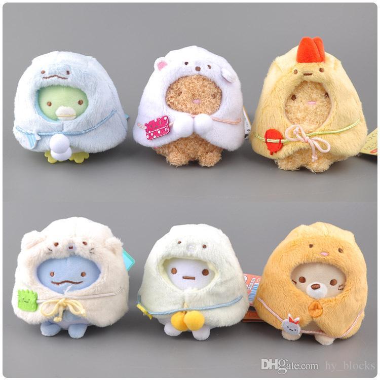 XMY 6pcs / lot 9cm Plüsch Kind für Plüsch Keychain Sumikko Gurashi Geschenke Anhänger San-X Spielzeug Smxkk