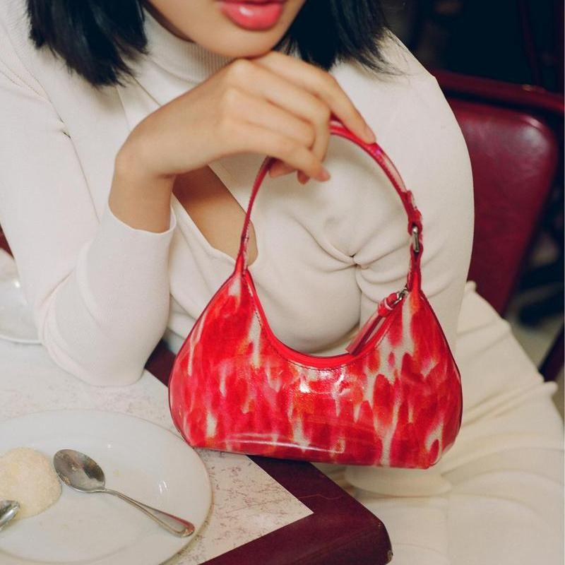Nuove donne in vernice retrò Borsa da donna per il tempo libero PU ascella borsa Francia mini gnocchi pacchetto femmina semplice borsa a tracolla borsa