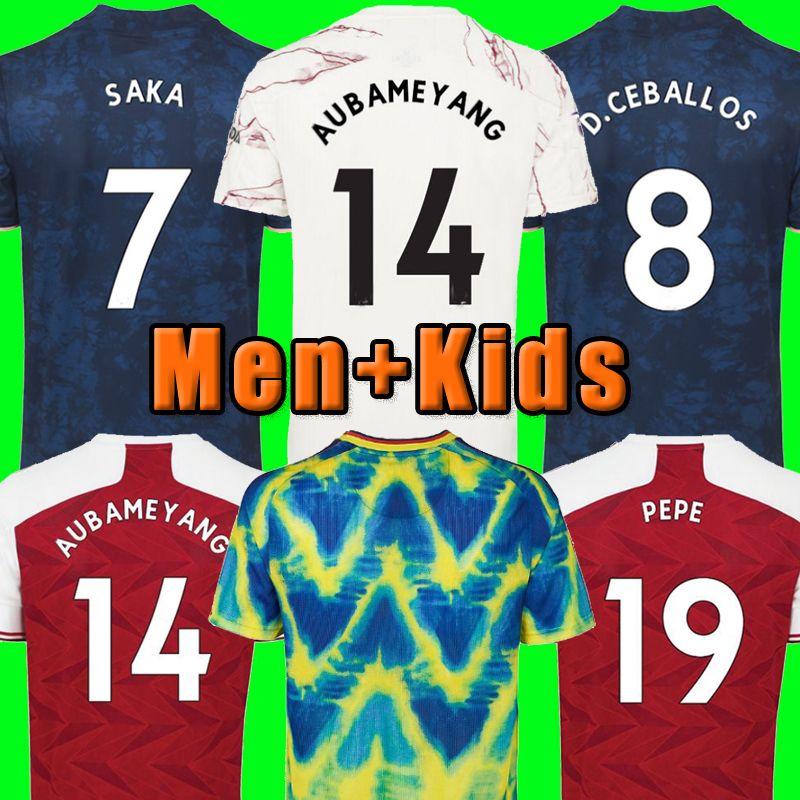 Fans Player version Arsen soccer jersey Gunners 20 21 PEPE SAKA THOMAS WILLIAN NICOLAS TIERNEY football shirts Men Kids fourth HUMANRACE