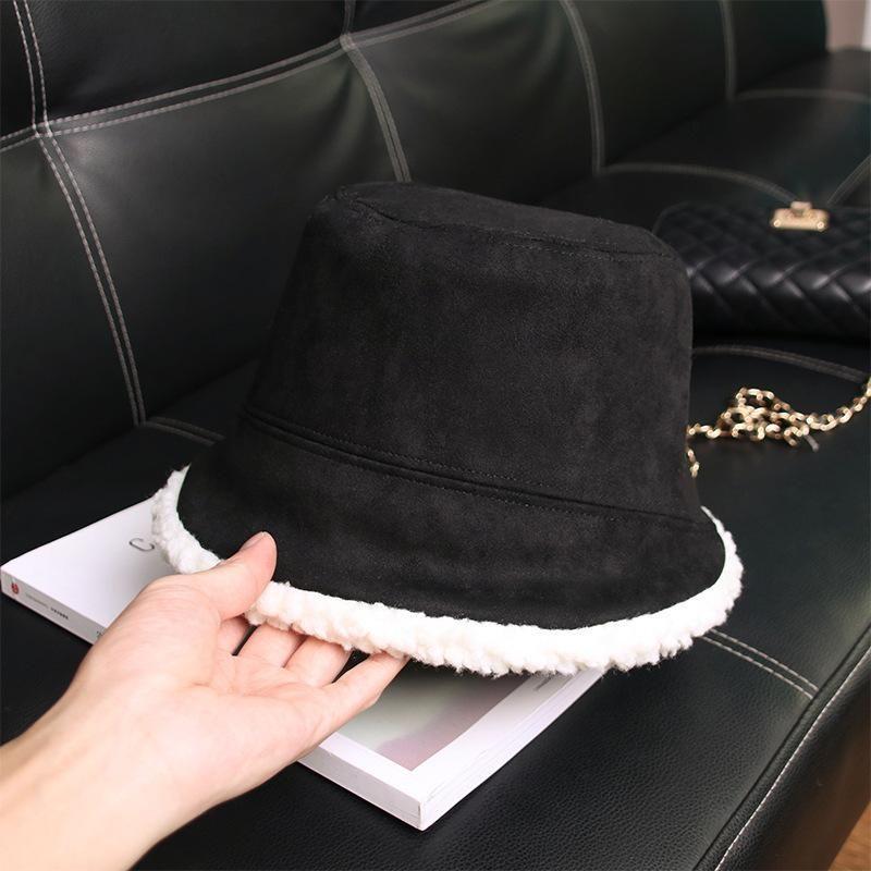 Geniş Brim Şapka Kış Şapka Kadın Peluş Sıcak Balıkçı Klasik Retro Eğlence Deerskin Yün Kuzu Saç Potu