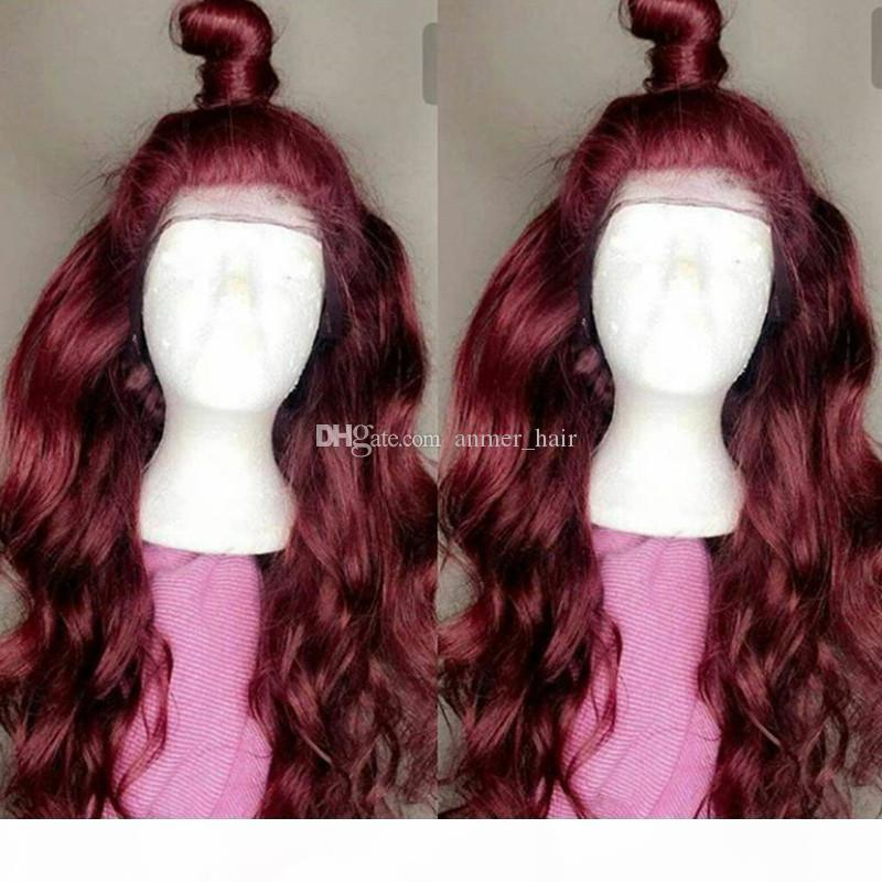 Cuerpo ondulado Borgoña Encaje completo Pelucas de cabello humano con cabello bebé 99J Pelucas frontales de encaje pre-arrancadas con cabello natural