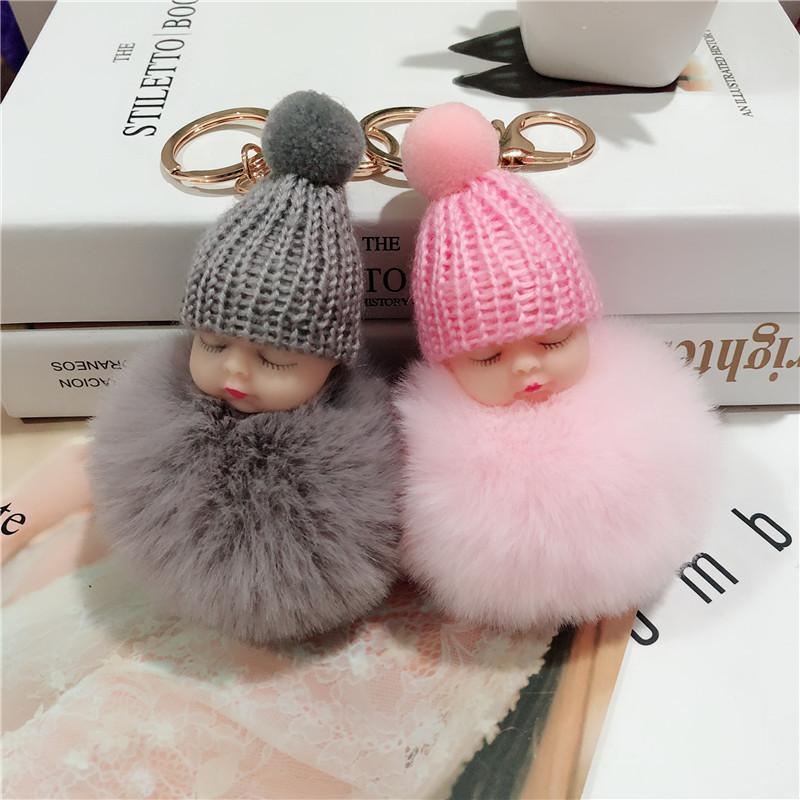귀여운 잠자는 아기 인형 키 반지 부드러운 토끼 모피 공 Pompom 키 체인 홀더 패션 자동차 키 포브 가방 펜던트 액세서리 Kimter-X990FZA