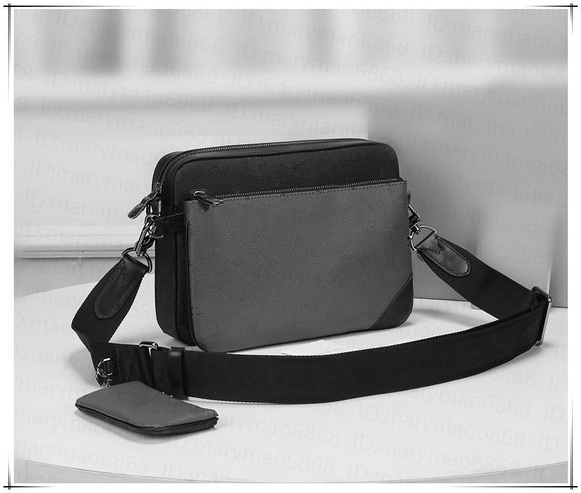 Moda para hombre bolsas de hombro negro Messenger Messenger Crossbody Men 3 pieza Set Classic Outdoor Postman Bag Schoolbags Bolsos Carteras Monedero
