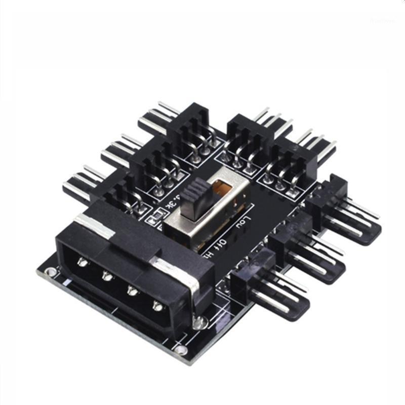 Computer Cavi Connettori Connettori 8-Porta Cooler Cooler Fan Hub Splitter Cable 12V PWM SATA Molex 4 Pin Molex a 8 canali Adattatore di alimentazione 3Pin