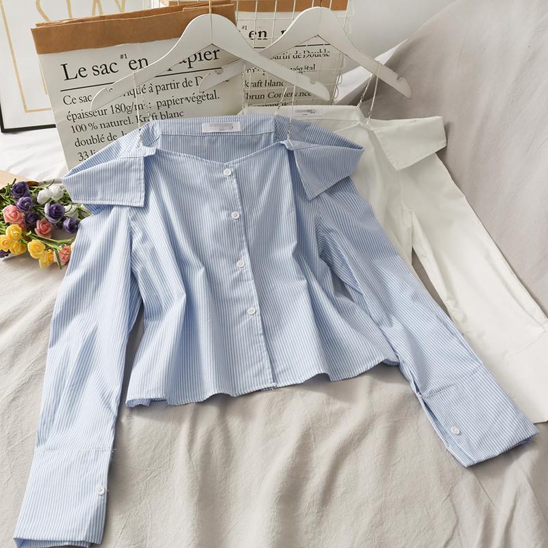 Весна осень женская рубашка с длинными рукавами Корейский striped Off-плечо однобортная рубашка стройная рубашка с длинными рукавами GD533 F0122