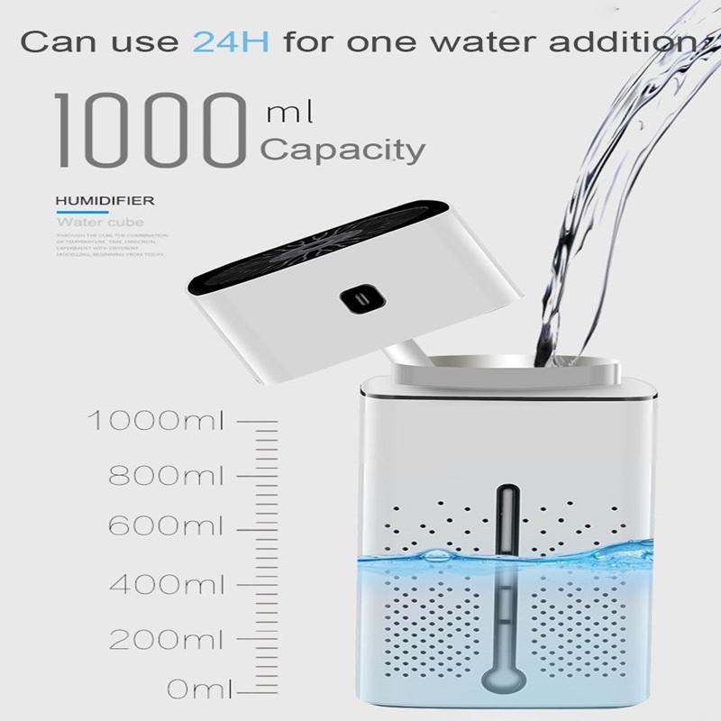 مكعب المياه الصامتة بالموجات فوق الصوتية المرطب الهواء، العطرية الأساسية النفط الناشر، العلاج العطرية رذاذ رذاذ المرطب، الصمام الخفيفة للسيارة المنزلية DH
