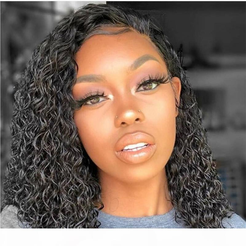 Deep Wave Lace Front Human Hair Short Bob Wigs With Baby Hair Brazilian Remy Kinky Curly Hair Frontal Wigs For Black Women