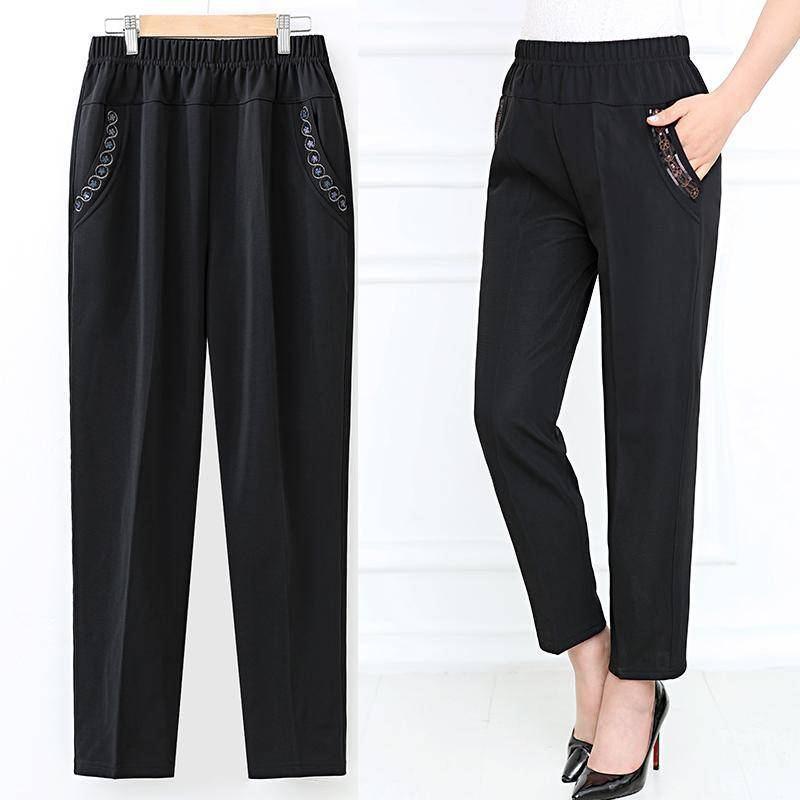 Большая осень зима Middl пожилые женщины теплые вины эластичные талии повседневные прямые брюки женские брюки плюс размер 4XL W2294
