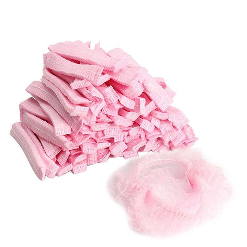 100 pçs / pacote chapéu mulheres acessórios de banho homens tampas de poeira não tecido descartável beleza plissada anti para spa caps salão chuveiro cabelo koidc