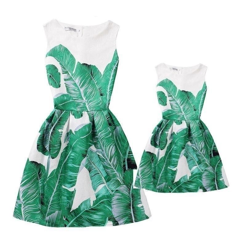 Verano madre hija vestidos ropa mamá e hija vestido juegos de coincidencia familiar mirar ropa imprimir mae e filha vestido 201128