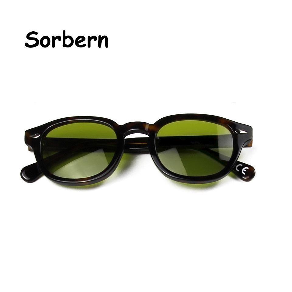 Pequenos óculos de sol redondos médios homens de tonalidade verde lente marca designer acetato vintage máscaras para mulheres Vasos de Cristal UV400