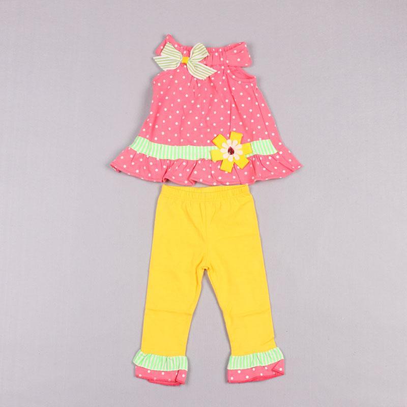 Распродажа продажа бабочка в горошек розовое платье принцессы двух частей детский костюм дети наборы девушки наряды летние повседневные брюки девочки костюм наряды Z238