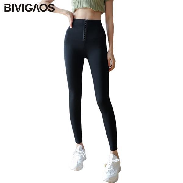 Bivigaos Sharkskin талия тренер для тела для тела черный грудящий бедро, подъемное сексуальное фитнес спортивные леггинсы женщины Q1123