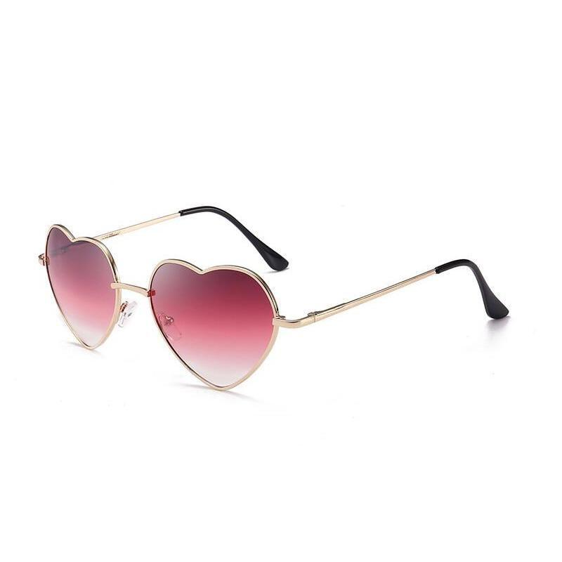 Sonnenbrille Dorkly Herzförmige Frauen Metall Reflektierende Linse Modespiegel Sunglsses