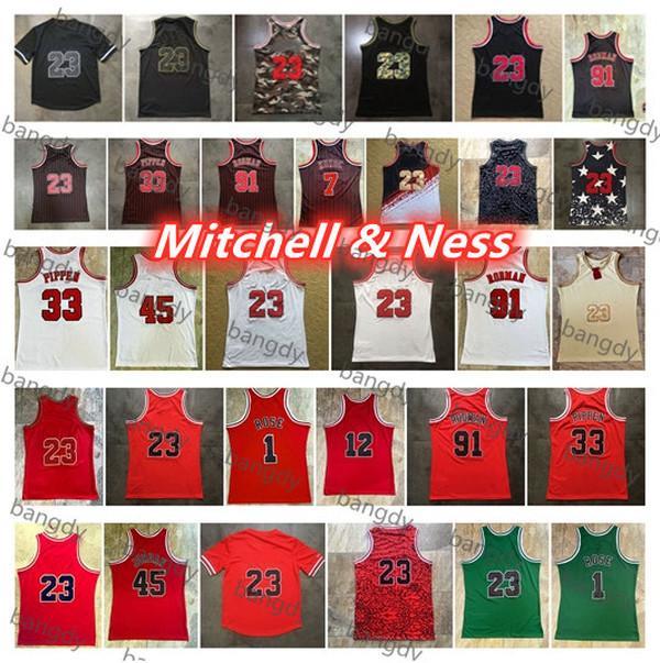 Mitchellness Basketbol Mens Michae Jersey 91 Dennis Rodman 7 KUKOC 1 Gül 33 Scottie Pippen 84-85 96-97 Nakış Kuzey Carolina Gömlek