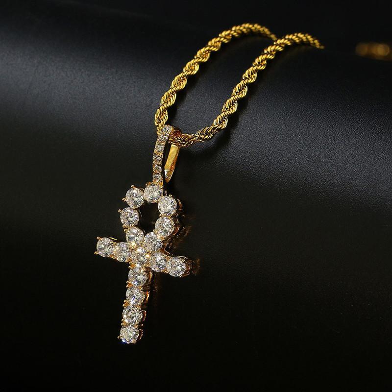 Hip Hop Cross Diamonds Collares colgantes para hombres Mujeres Religión Cristianismo Collar de lujo Joyería Chapado en oro Circones de cobre Cadena cubana