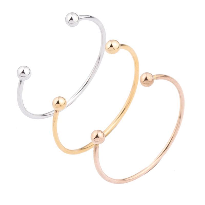 Pulseira simples aço inoxidável aço inoxidável bracelete redondo para homens e mulheres pode ser personalizado com abertura de jóias finas 2021