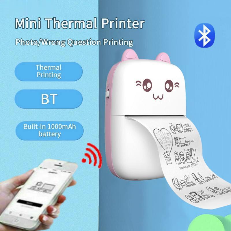 Pocket Printer Portable Thermal Printable Machine Bluetooth Mini Photo Picture Picter Принтер для ударов Офис Домой Студент Неправильный вопрос Ответ