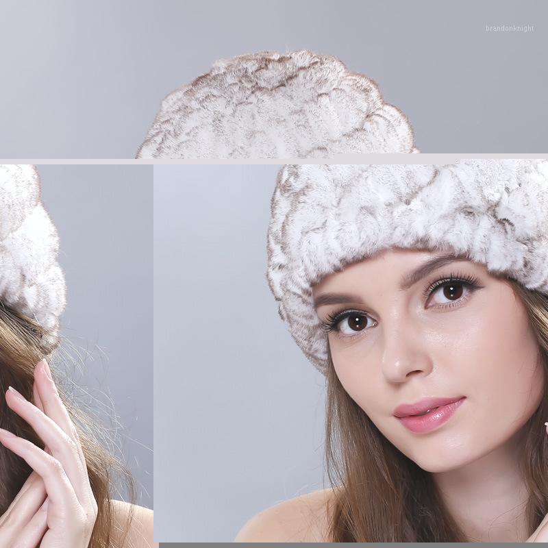 winter fur hats women Genuine Rex Fur skullies beanies for women hat Russian knitted hat Real Casual cute girl cap lady hats1