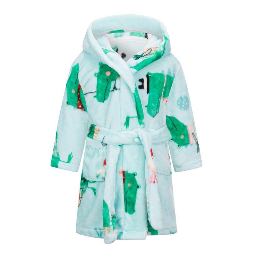 Kids Pajamas халат мультфильм флисовая ночь халат фланелевой плед напечатана ночь халат девушки мальчики мягкие теплые ночные халаты поставки дизайн море PPC5182