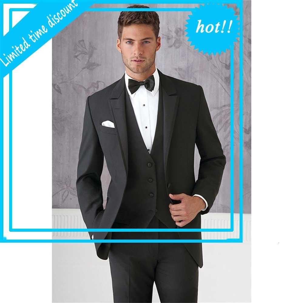 Los trajes de boda del delgado delgada de la goma negra hechos a medida para los hombres articulan los blazers de los hombres (jas pantalones chaleco + corbata)
