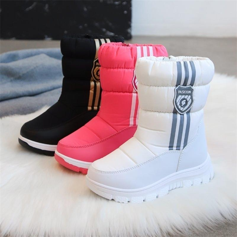 Вулель с меховым плюшевым теплым детьми зимние снежные ботинки детская обувь для девочек мальчики детская девочка обувь водонепроницаемая обувь 201128