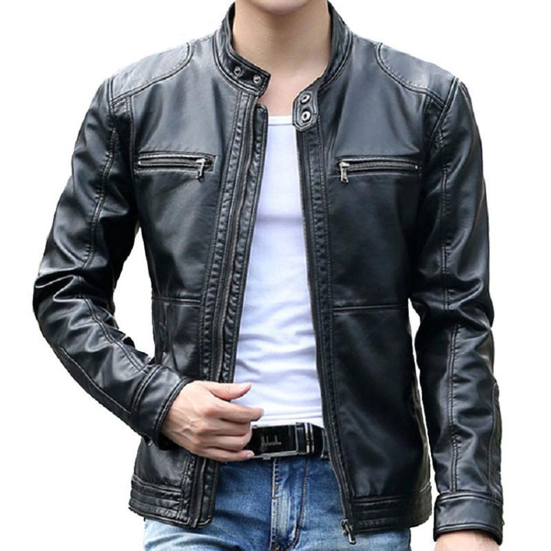 Erkek Kürk Faux Ailooge Marka Giyim 5XL Deri Ceketler Erkekler Standı Yaka Mont Erkek Motosiklet Ceket Casual Slim