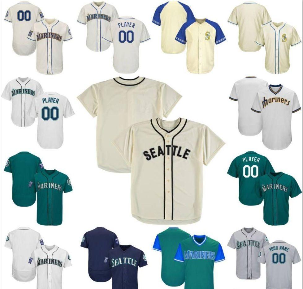 Özel Mens Bayan Gençlik SeattleMariners Beyzbol Formaları Beyaz Lacivert Gri Mavi Krem Yeşil Dikiş Herhangi Bir Numaralı Shirt Jersey Herhangi Bir Adı Dikiş