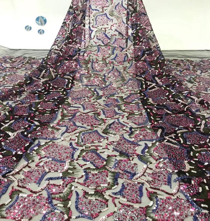 Tecido de renda nigeriana 2020 belo bordado bordado africano tule tulle tecido de renda com lantejoulas para vestido de festa