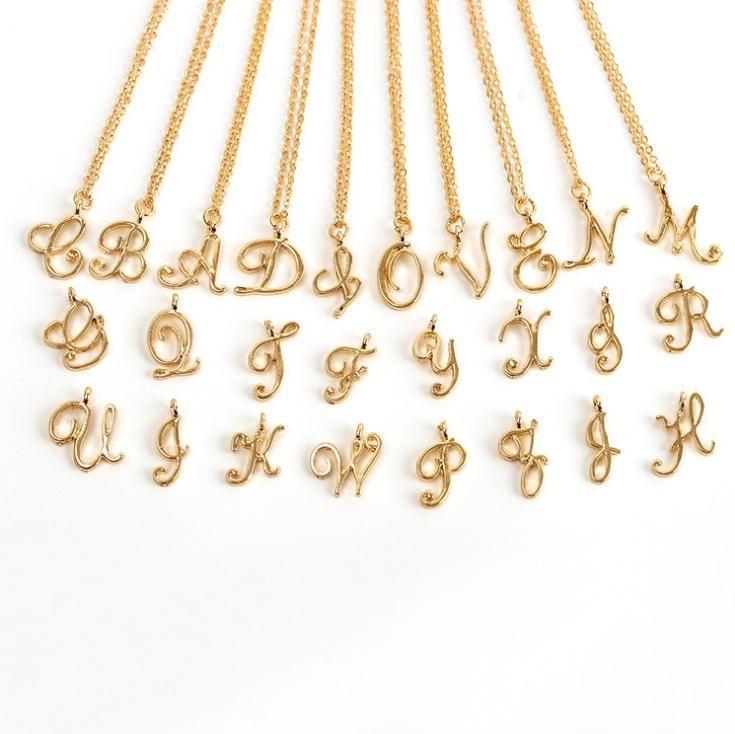 الأزياء الأولي الحروف الأبجدية قلادة الكل 26 الإنجليزية الفضة أ