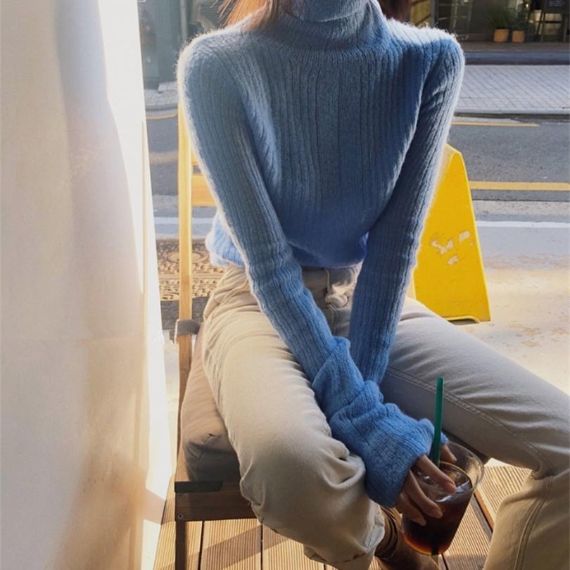 Nuevo suéter de invierno mujeres jersey chicas tops vintage manga larga otoño elegante femenino de punto boca exterior suéter cálido Turtleneck 201221
