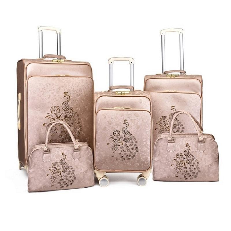Экспорт PU багажа набор тележки путешествия чемодан на колесах с косметической сумкой