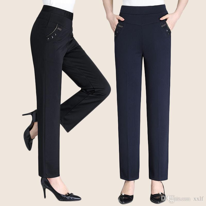 2020 Neue Herbst Winter Middl Alter Frauen Hohe elastische Taille Lässig gerade Hosen Weibliche Plus Größe Kleidung Casual Hose M168