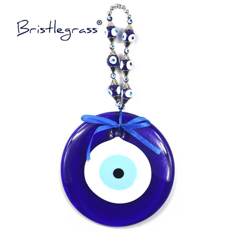 BRISTLEGRASS Turkish Blue Evil Eye 160mm Huge Glass Amulets Lucky Charm Wall Hanging Pendants Pendulum Blessing Protection Decor Q1209