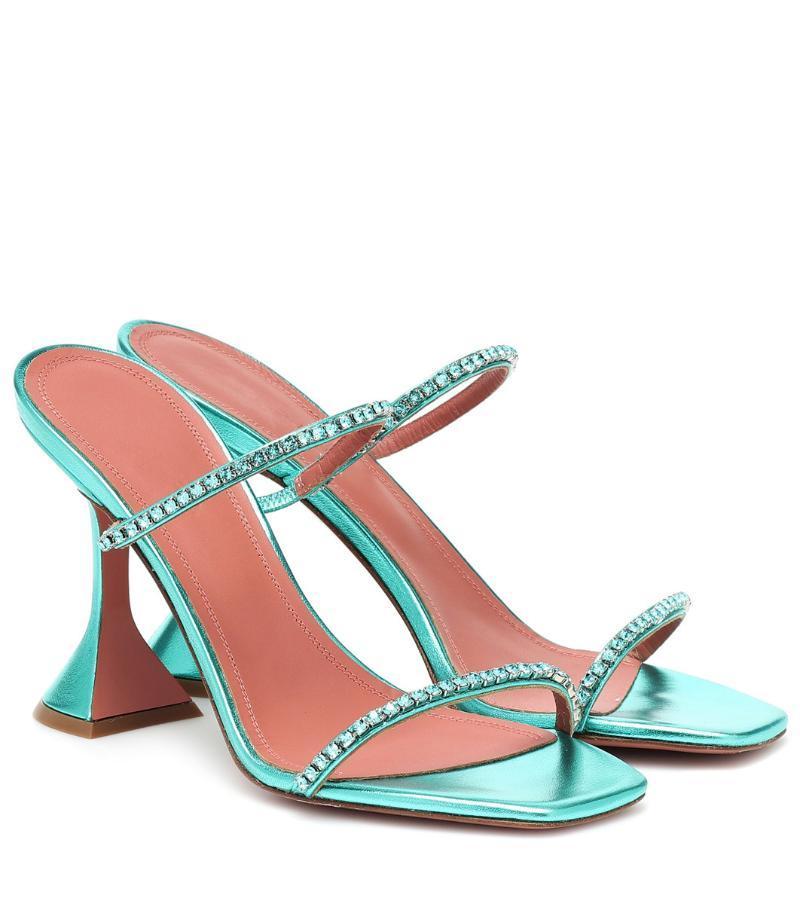 Ddyzhy Crystal Embellished Sandals Sandalias Sandalias Talón alto zapatillas Formal Party Zapatos Cuadrados Punta ABIERTA Vestido Mules Celebrity Shoes