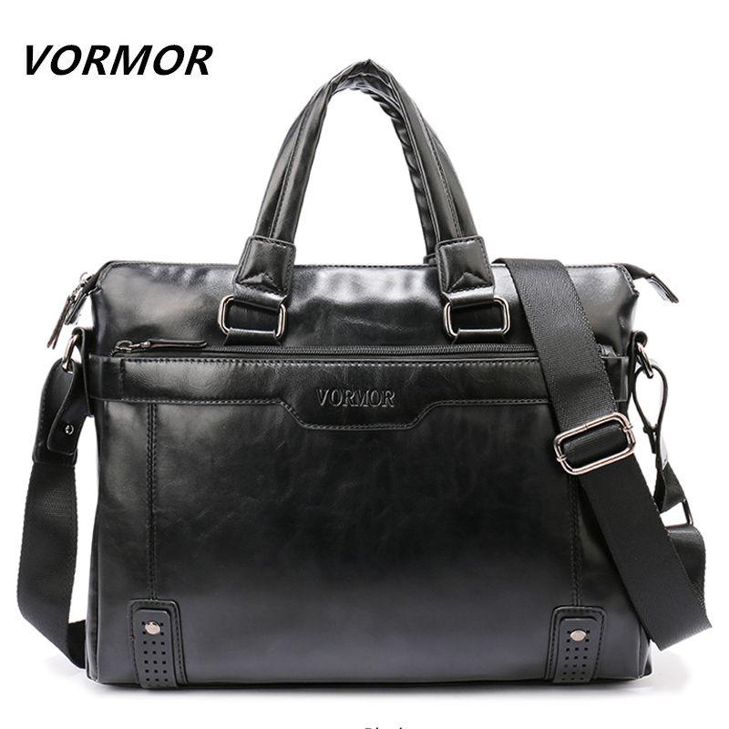 VORMOR Brand Elegance Business Briefcase PU Leather 14 inch Laptop Men Bag, Casual Man Shoulder Bags maleta Q0112