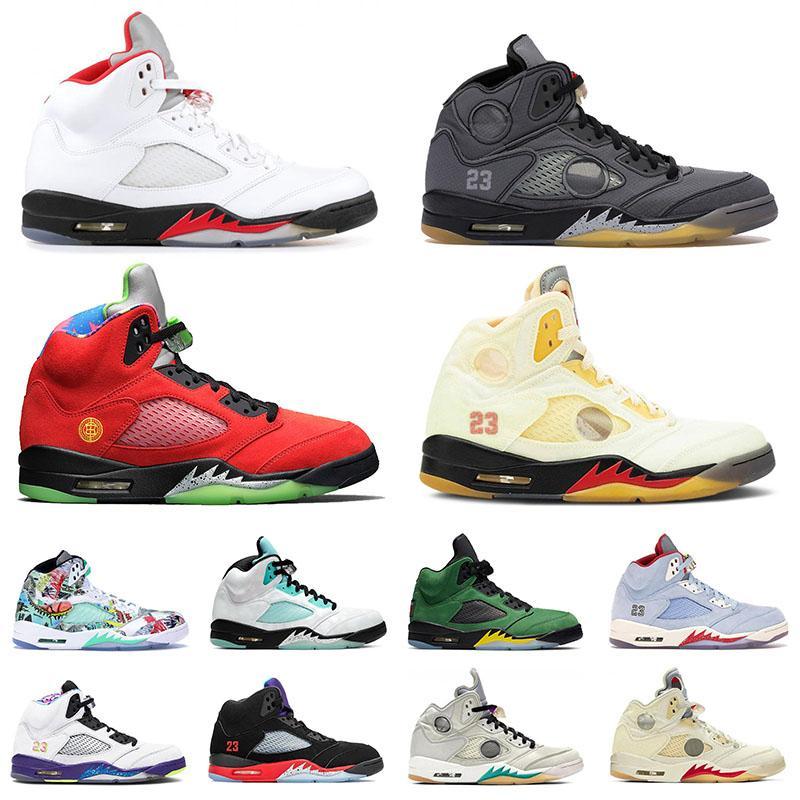 Nike Air Jordan Retro 5 Jordans 5s Off White Chaussures de basketball pour femmes de haute qualité Blanc 5 Mousseline 5S Fire Red Quet Island Vert Sneaker Entraîneur aérien rétro