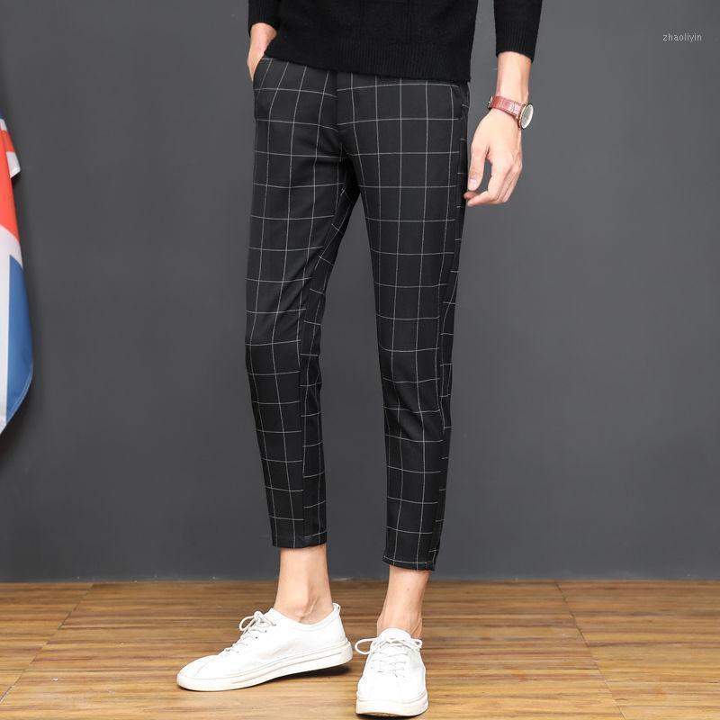 2020 летние мужчины винтажные клетки костюма брюки формальные платья пластырь бизнес повседневная тонкая ноги Pantalon классические брюки свадьба свадьба L921