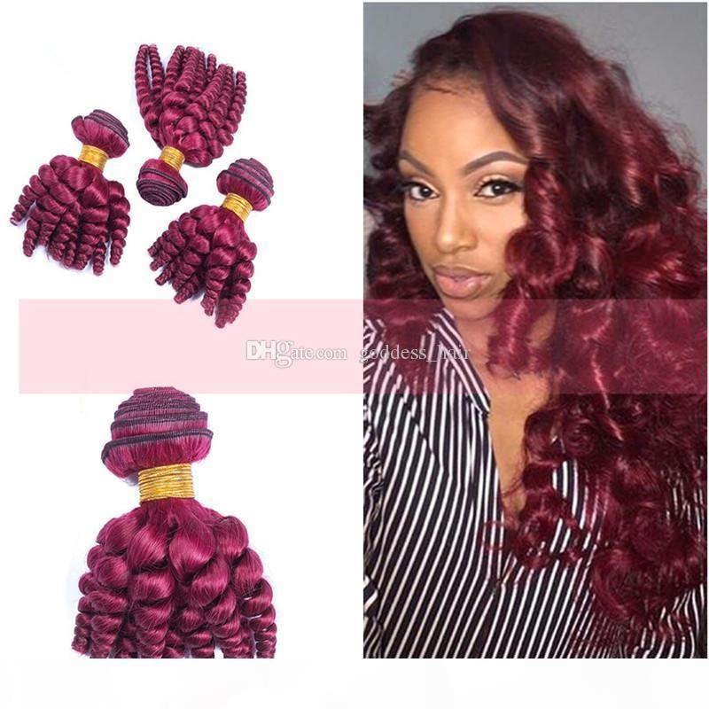 Nouvelle arrivée du Pérou Virgin Funmi Bourgogne # 99j bon marché cheveux humains Tissages 8-30 pouces Vin rouge Romance Curls cheveux Trame Double Drawn Pour Femme