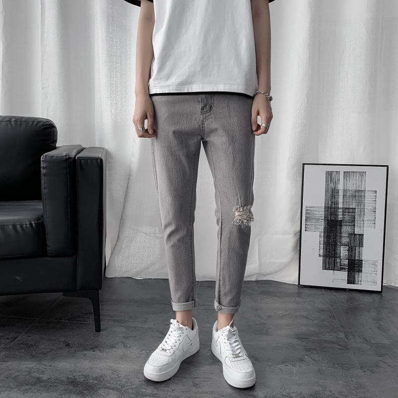 2021 otoño fresco hombres delgado rasgado lápiz jeans moda tendencia harem denim longitud pantalones masculinos casuales leggings finos recortados pantalones