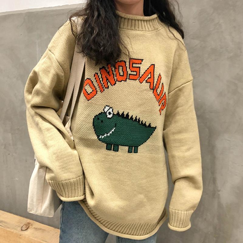 Смешное письмо свитер динозавра женщин harajuku винтаж убранный вырез зима пуловер длинный рукав свободно вязаный негасительный свитер теплый v698 c1120
