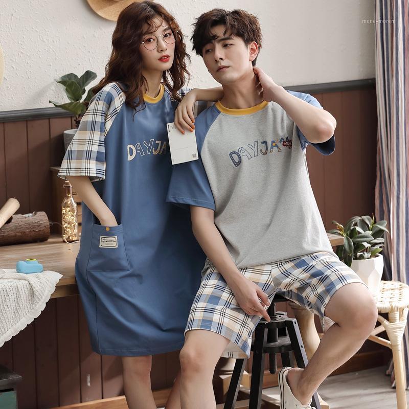 Men's Sleepwear Style Pajamas Women'S Hipster Pure Cotton Nightdress Thin Men'S Short Sleeve Shorts Loose-Fit Set Home Wear1
