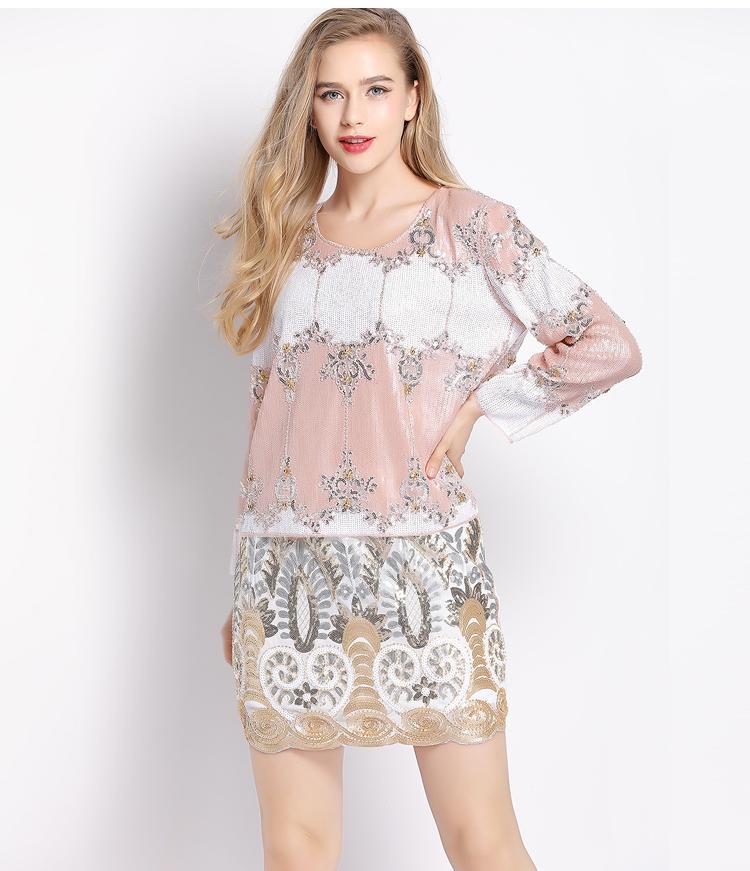 H80S90 Nuevas mujeres Vintage Bordado Floral Falda de lentejuelas Cintura Elástica Falda corta Saia Lapis Mini Falda Q0119