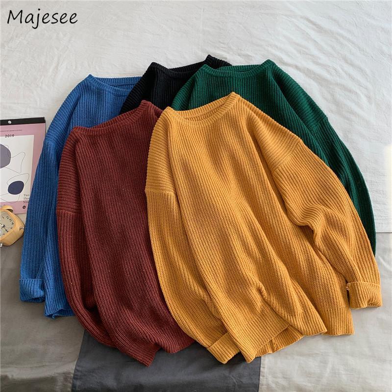 Homens pulôvers inverno macho tops blusas malha sólida simples básica in ins ulzzang coreano na moda solta all-match casual diariamente grosso